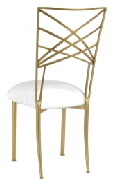 Gold Fanfare with White Leatherette Cushion