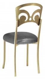 Gold Fleur de Lis with Gunmetal Stretch Knit Cushion