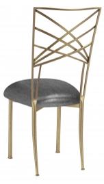 Gold Fanfare with Gunmetal Stretch Knit Cushion