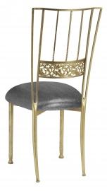 Gold Bella Fleur with Gunmetal Stretch Knit Cushion