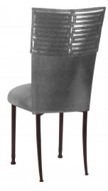 Head Dress wtih Gunmetal Stretch Knit Cushion on Mahogany Legs