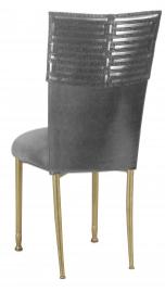 Head Dress with Gunmetal Stretch Knit Cushion on Gold Legs