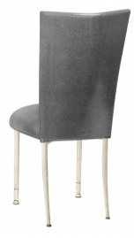 Gunmetal Stretch Knit Chair Cover with Cushion on Ivory Legs