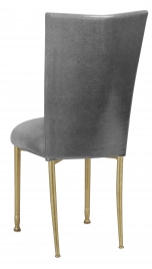 Gunmetal Stretch Knit Chair Cover with Cushion on Gold Legs