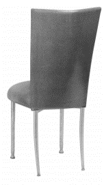 Gunmetal Stretch Knit Chair Cover with Cushion on Silver Legs