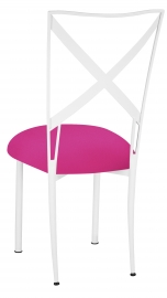 Simply X White with Hot Pink Knit Cushion