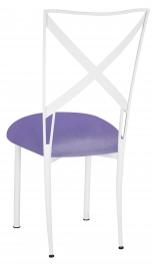 Simply X White with Lavender Velvet Cushion