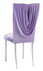 Lavender Velvet Cowl Neck Chair Cover and Cushion on Silver Legs
