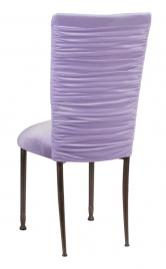 Chloe Lavender Velvet Chair Cover and Cushion on Mahogany Legs