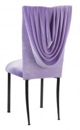 Lavender Velvet Cowl Neck Chair Cover and Cushion on Black Legs