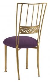 Gold Bella Fleur with Lilac Suede Cushion