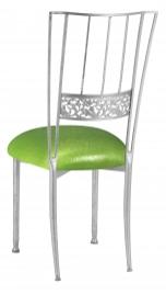 Silver Bella Fleur with Metallic Lime Knit Cushion