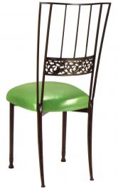 Mahogany Bella Fleur with Metallic Lime Cushion