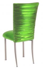 Chloe Metallic Lime Stretch Knit Chair Cover and Cushion on Silver Legs