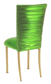 Chloe Metallic Lime Stretch Knit Chair Cover and Cushion on Gold legs