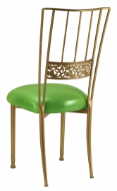 Gold Bella Fleur with Metallic Lime Cushion