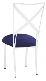 Simply X White with Navy Stretch Knit Cushion