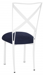 Simply X White with Navy Blue Suede Cushion