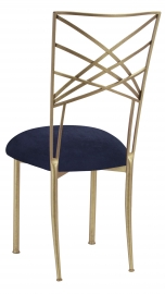 Gold Fanfare with Navy Suede Cushion