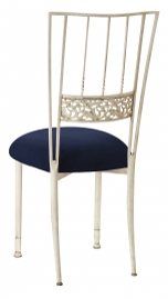 Ivory Bella Fleur with Navy Suede Cushion