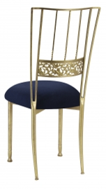 Gold Bella Fleur with Navy Suede Cushion