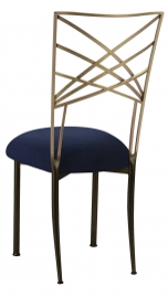 Two Tone Fanfare with Navy Suede Cushion
