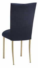 Navy Suede Chair Cover and Cushion on Gold Legs