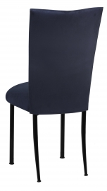 Navy Suede Chair Cover and Cushion on Black Legs