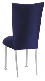 Navy Stretch Knit Chair Cover with Cushion on Silver Legs