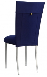 Navy Blue Chair Cover with Button Chair Cover and Cushion on Silver Legs