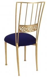 Gold Bella Fleur with Navy Stretch Knit Cushion