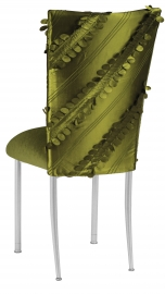 Olive Taffeta Petals Chair Cover with Olive Velvet Cushion on Silver Legs