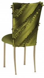 Olive Taffeta Petals Chair Cover with Olive Velvet Cushion on Gold Legs
