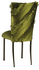 Olive Taffeta Petals Chair Cover with Olive Velvet Cushion on Brown Legs