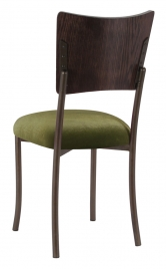 Wood Back Top with Olive Velvet Cushion on Brown Legs