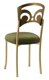 Gold Fleur de Lis with Olive Velvet Cushion