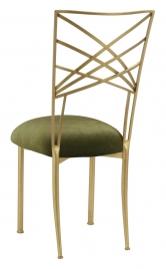 Gold Fanfare with Olive Velvet Cushion