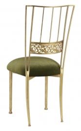 Gold Bella Fleur with Olive Velvet Cushion