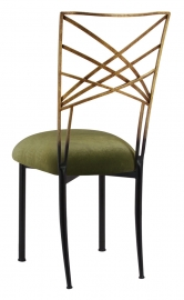 Two Tone Gold Fanfare with Olive Velvet Cushion