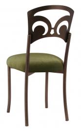 Bronze Fleur de Lis with Olive Velvet Cushion