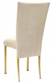 Parchment Linette Chair Cover and Cushion on Gold Legs
