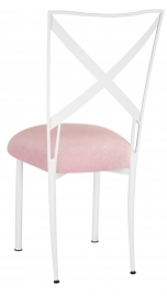 Simply X White with Pink Sparkle Velvet Cushion