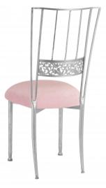 Silver Bella Fleur with Pink Sparkle Velvet Cushion