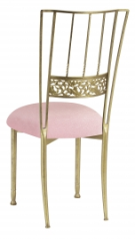 Gold Bella Fleur with Pink Sparkle Velvet Cushion