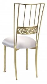 Gold Bella Fleur with Platinum Satin Cushion