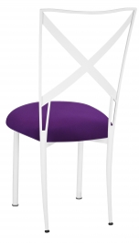 Simply X White with Plum Stretch Knit Cushion
