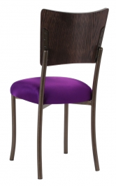 Wood Back Top with Plum Stretch Knit Cushion on Brown Legs