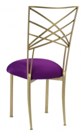 Gold Fanfare with Plum Stretch Knit Cushion