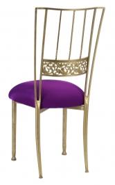Gold Bella Fleur with Plum Stretch Knit Cushion