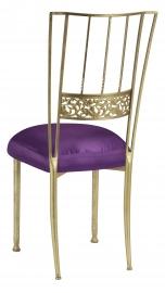 Gold Bella Fleur with Purple Taffeta Boxed Cushion